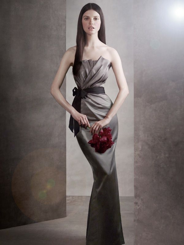 Sleek strapless bridesmaid dress with mermaid silhouette by Vera Wang