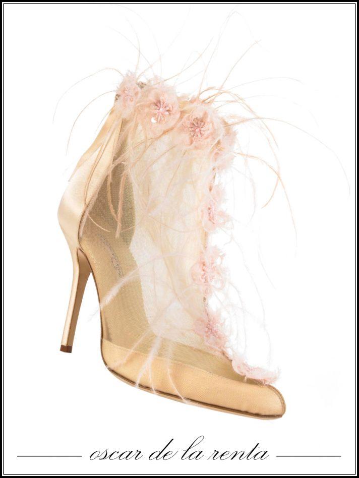 Feather-embellished Oscar de la Renta wedding boots