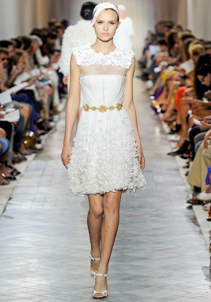 White daytime wedding dress with sheer illusion neckline