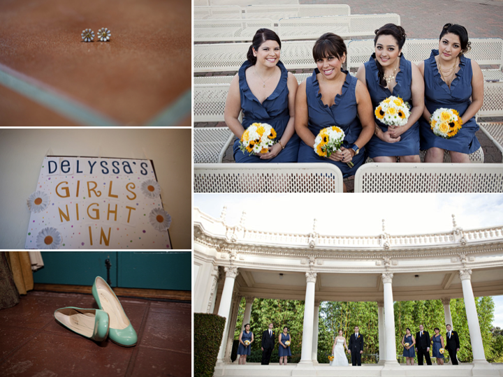 real wedding bridesmaids wear blue dresses clutch sunflower bouquets
