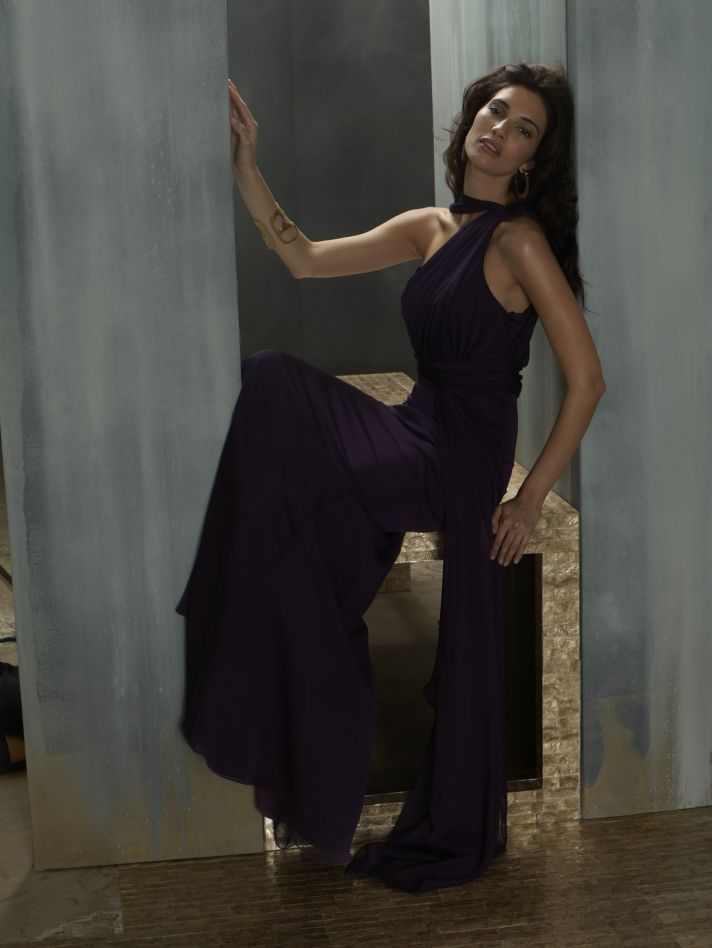 Grecian-inspired bridesmaid gown in deep purple