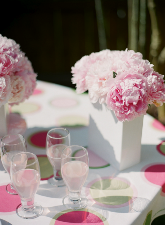 Fluffy pink peony wedding centerpieces