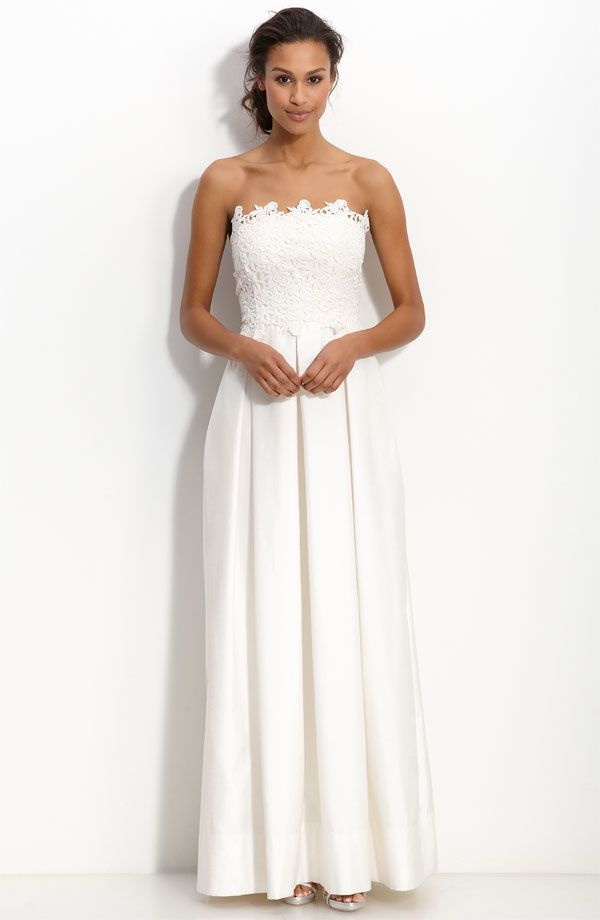 Simple ivory modified a-line wedding dress with lace applique