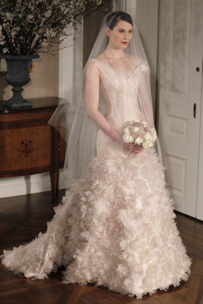 Blush pink Romantic Romona Keveza Fall 2011 wedding dress