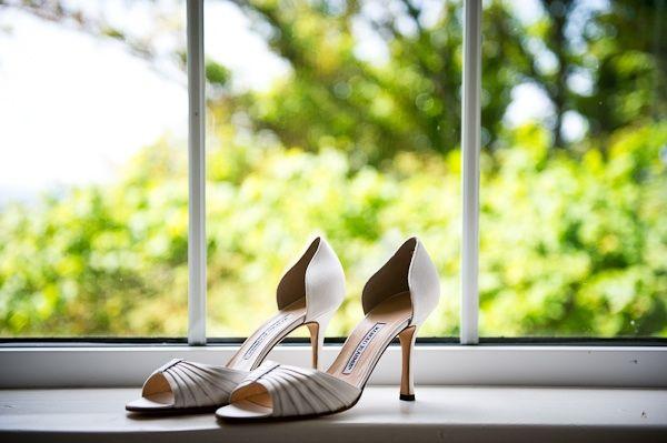 Open-toe Badgley Mischka wedding shoes