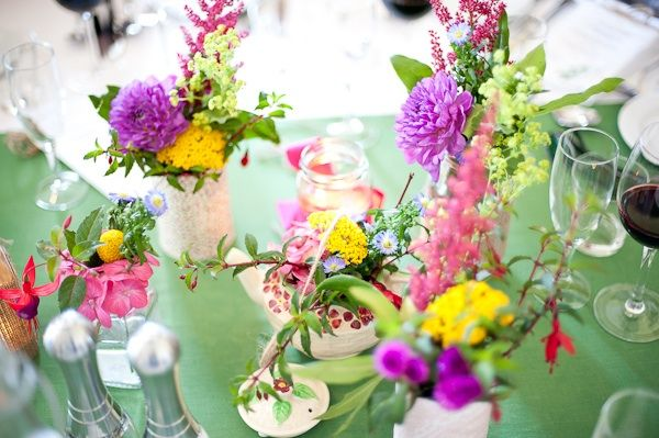 Bright, locally grown pink, purple and yellow wedding flowers