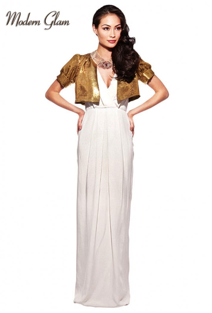 Column wedding dress by J.Crew with metallic gold bolero