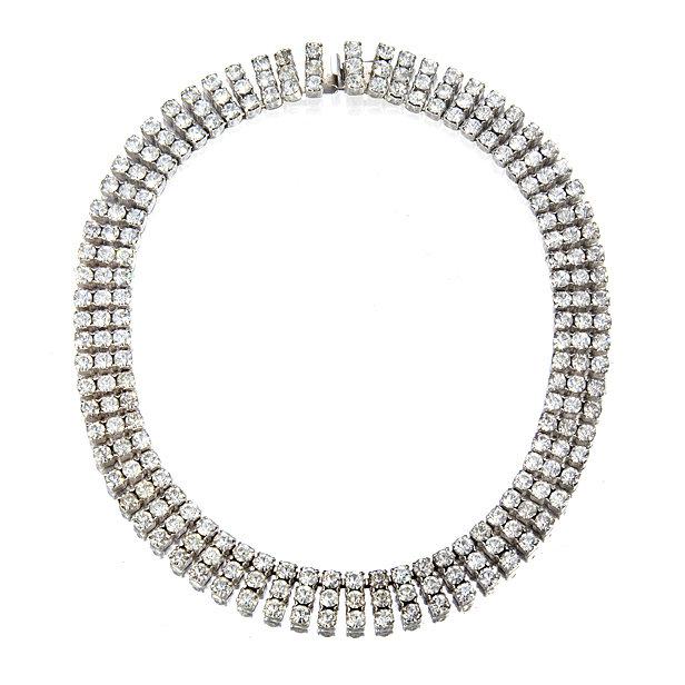 3strand vintage diamante crystal wedding necklace