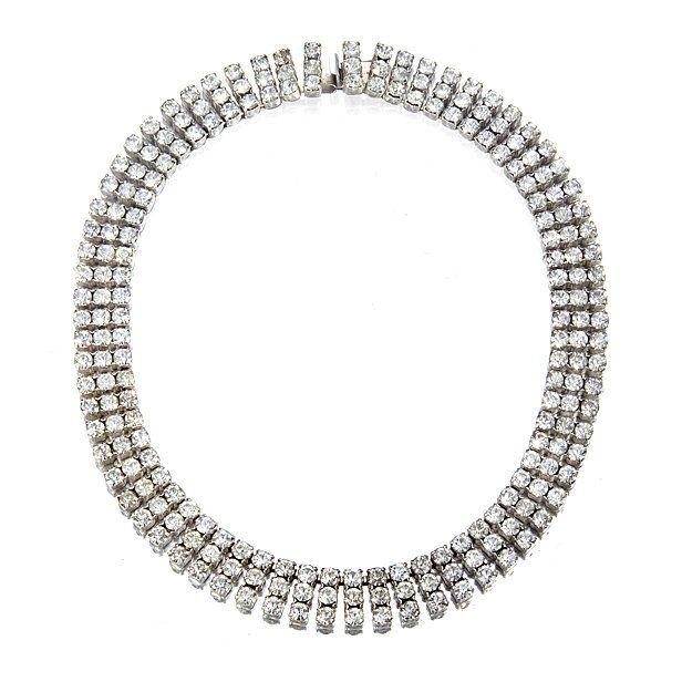 3-strand vintage diamante crystal wedding necklace