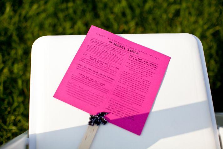 Chic pink Mazel Tov wedding ceremony programs
