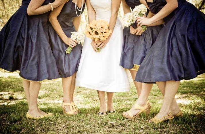 retro-wedding-dress-navy-bridesmaids-dresses-tea-length