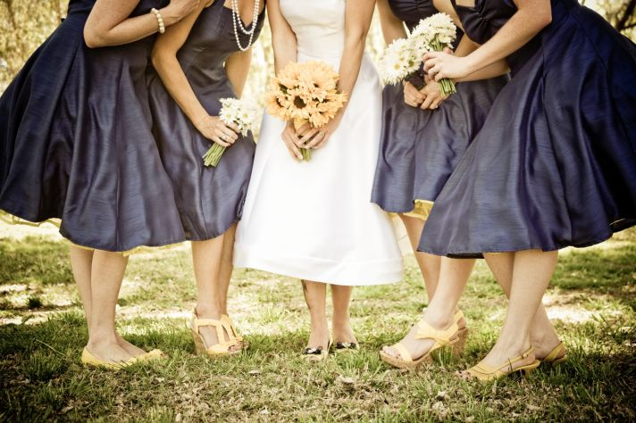 Navy And Yellow Retro Real Wedding
