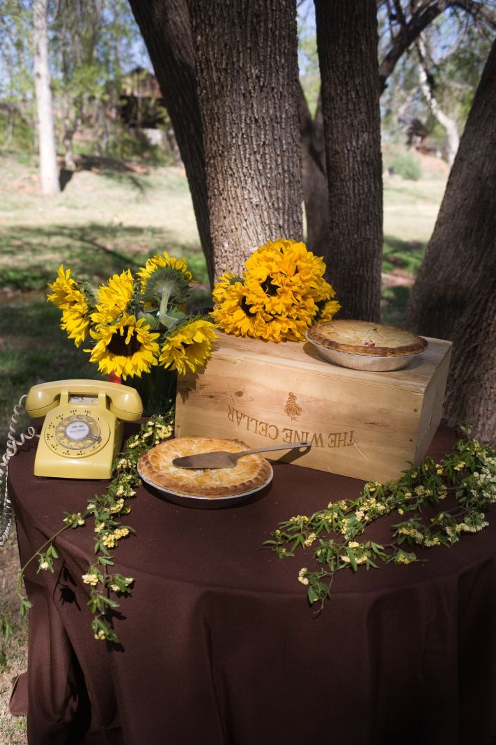Rustic and retro outdoor wedding reception decor, real Arizona wedding