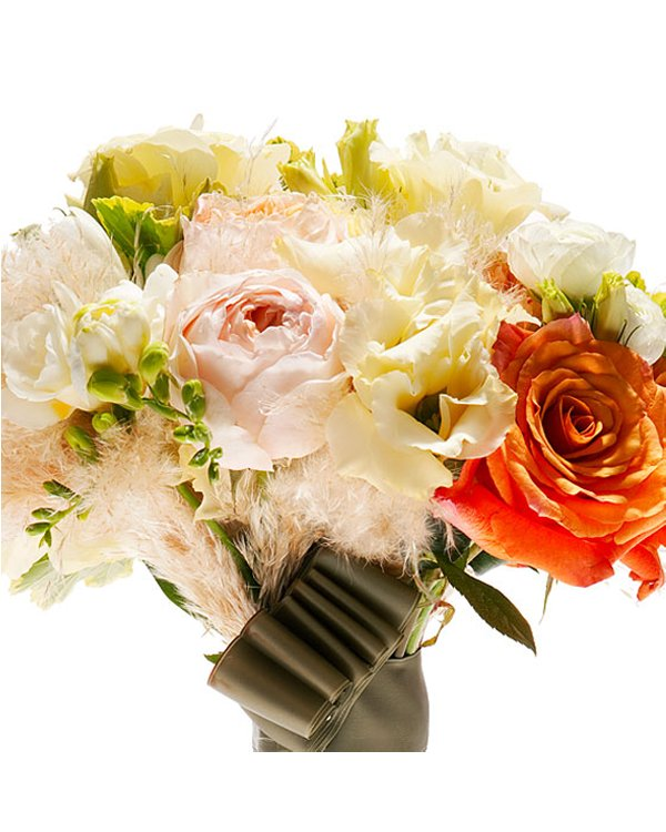 Romantic ivory rose bridal bouquet with orange Juliet garden rose and whimsical feathers