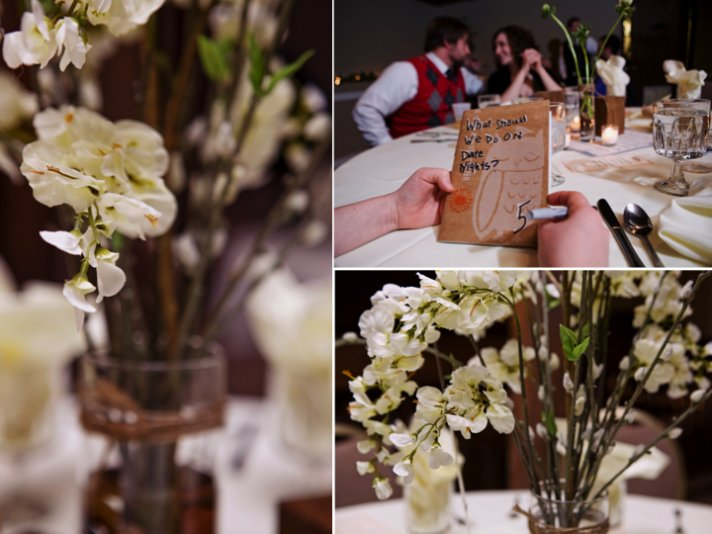 Real Kansas City wedding with ivory wedding flowers and rustic reception decor