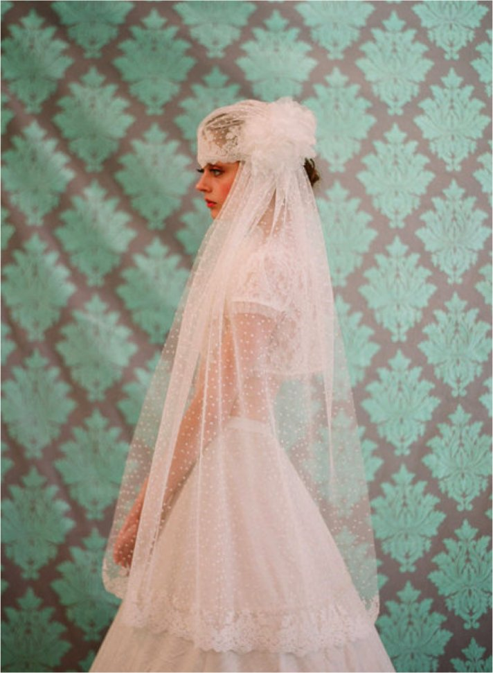 Parisian chic lace and tulle bridal veil and cap