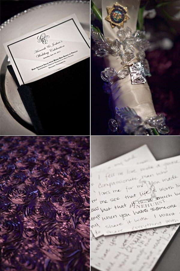 Keepsake-adorned bridal bouquet, chic black and white wedding menus