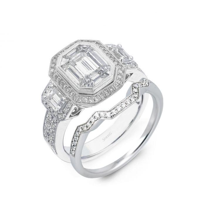 Platinum Simon G engagement ring like Kim Kardashian's with matching wedding band