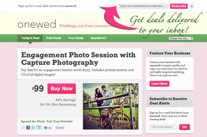 Sign up to get daily wedding deals delivered to your inbox