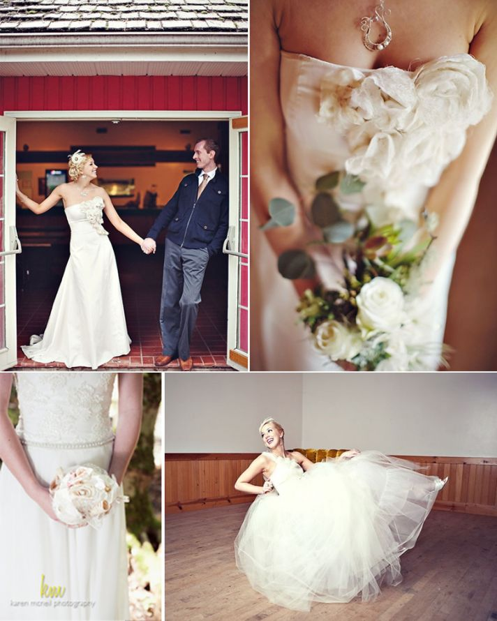 Embellished modified mermaid wedding dress and eco-chic tulle ballgown