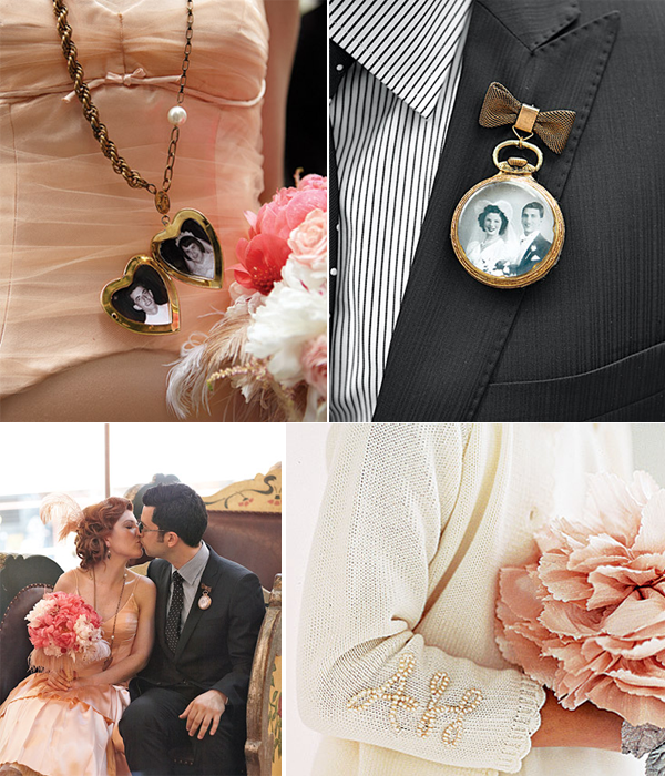 Vintage chic peach ivory and black wedding ideas and inspiration