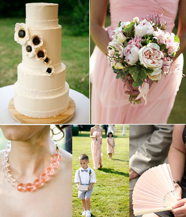 Ivory wedding cake with anemone sugar flowers, peach and ivory bridal bouquet