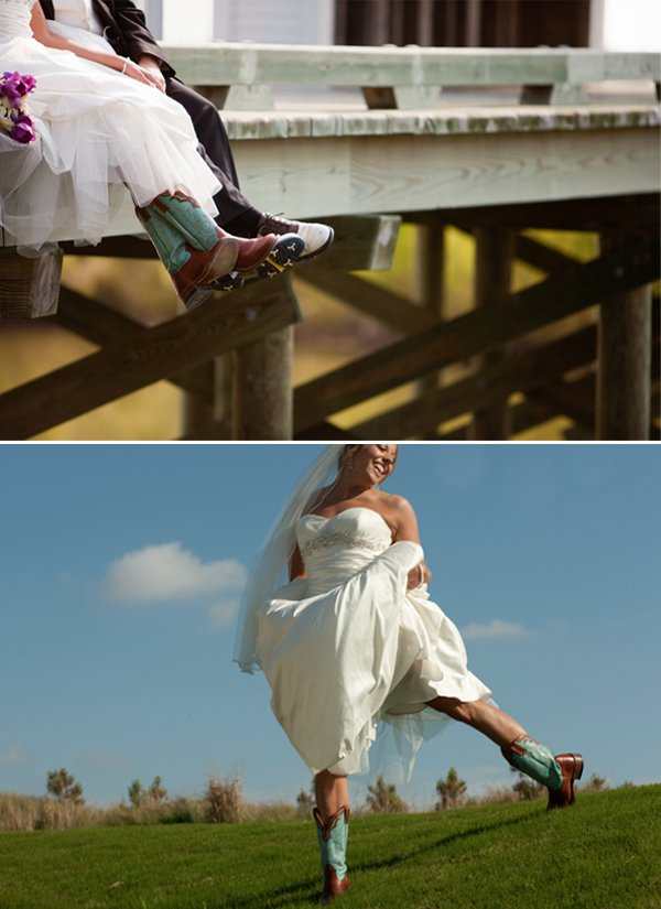 Bride wears ivory wedding dress with cowboy boots