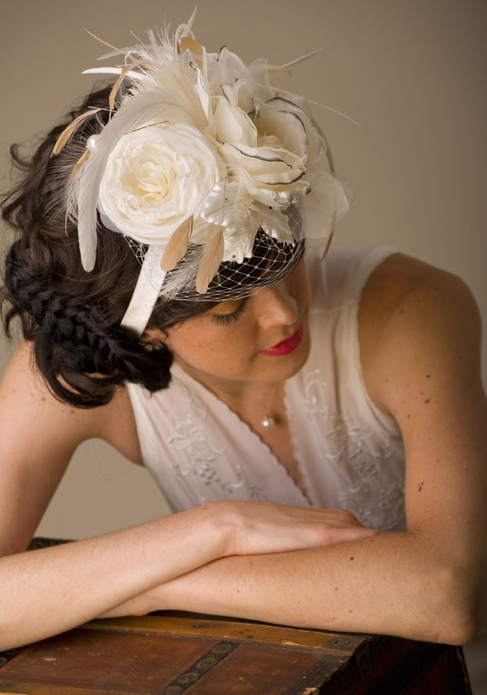 Bridal headband with floral applique and french net