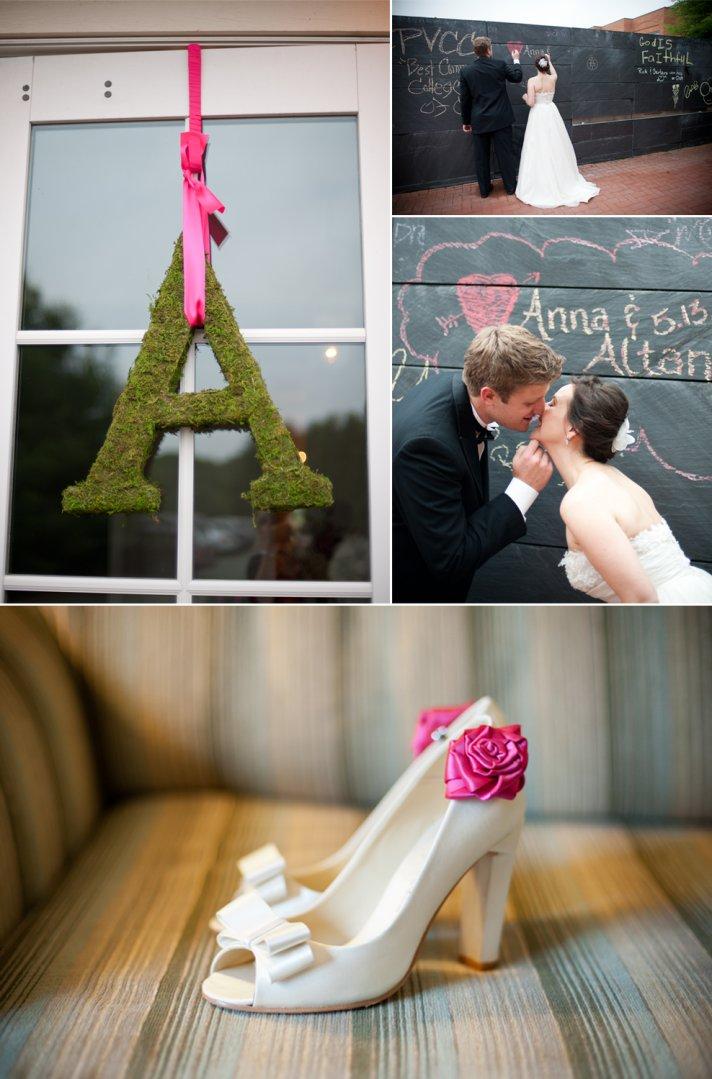 Ivory peep-toe wedding heels with pink flower detail