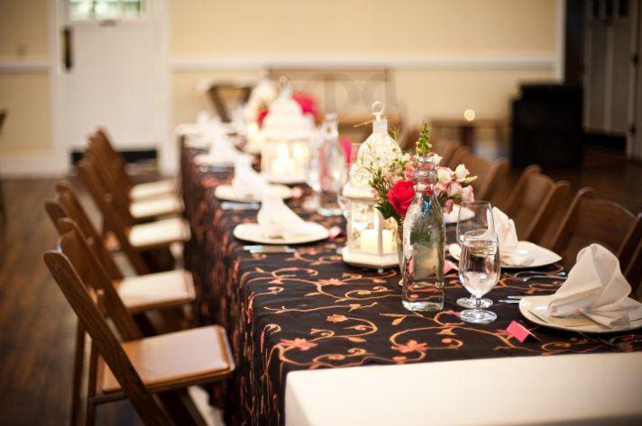 Rustic chic wedding reception tablescape