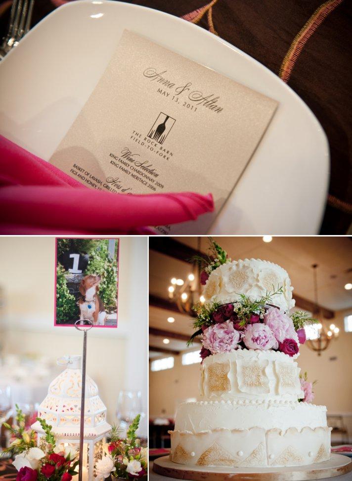 Black and ivory wedding reception menus, elegant wedding cake
