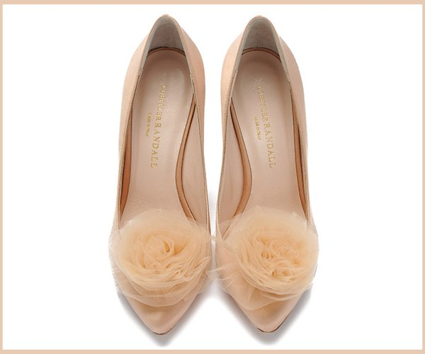Blush pink wedding shoes with floral detail