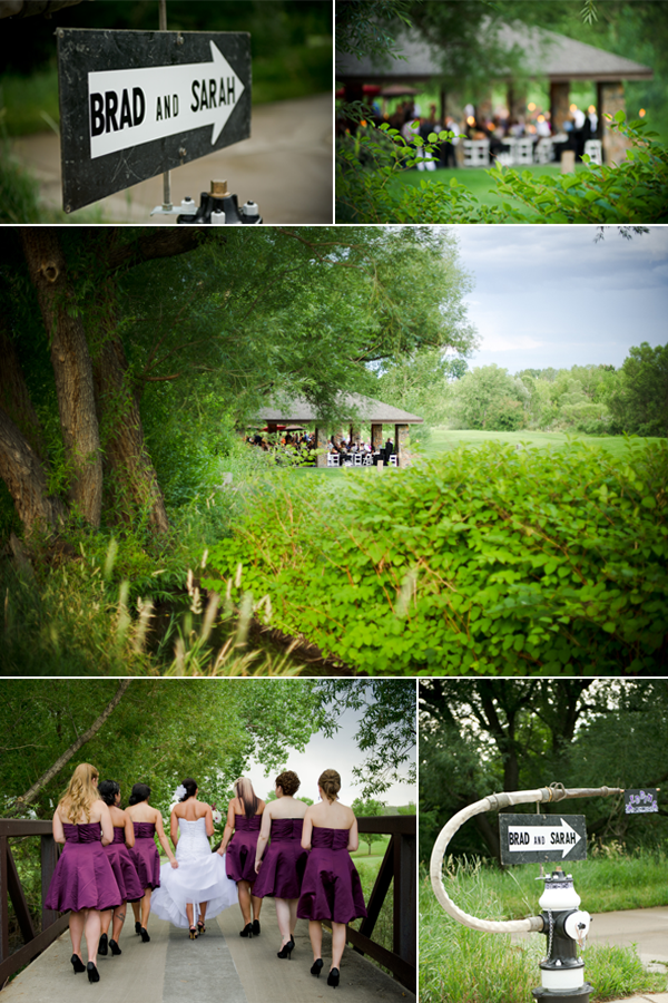 Outdoor real wedding in Colorado purple and black and white damask wedding