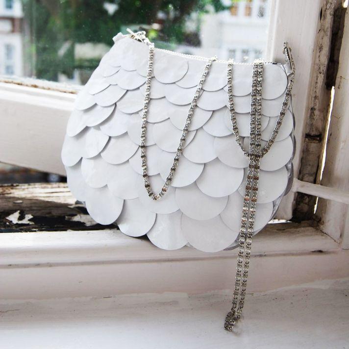 Whimsical white wedding clutch