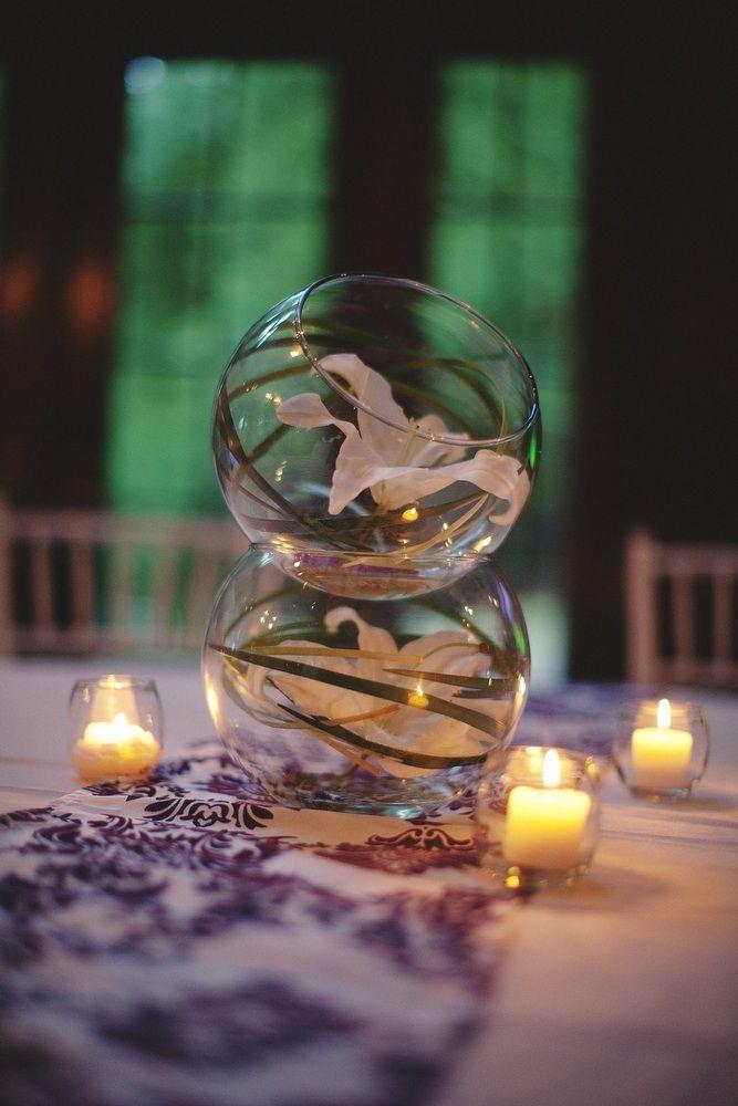 Simple and elegant wedding reception centerpiece
