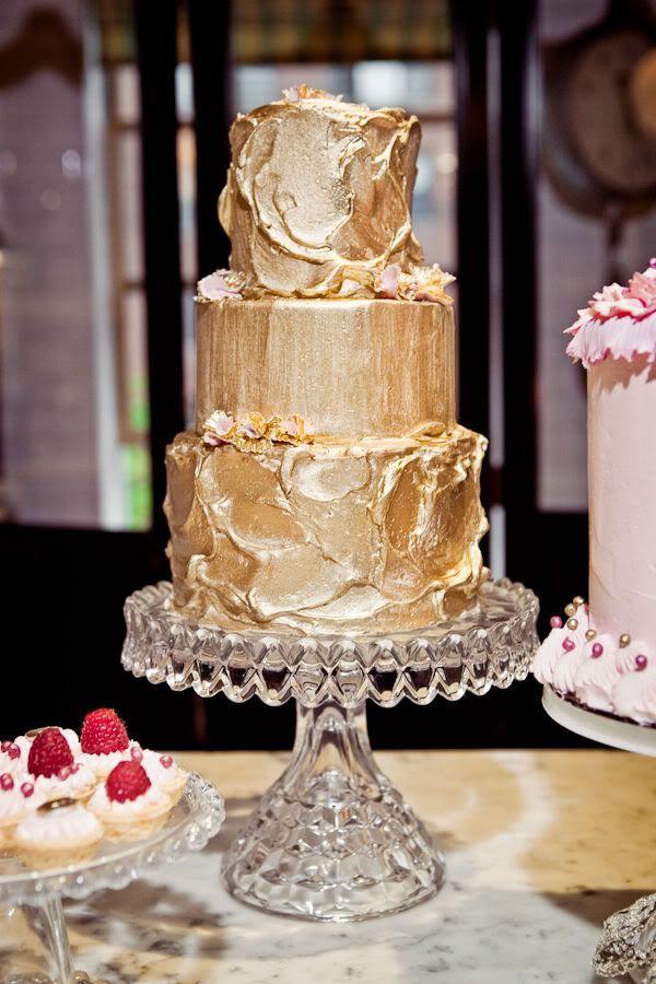 Gilded gold wedding cake
