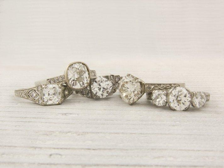 Vintage diamond and platinum engagement rings
