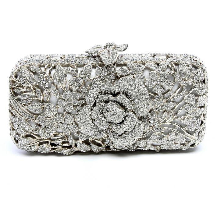 Sparkling silver bridal clutch