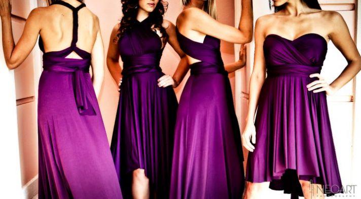Convertible bridesmaids' dresses in deep purple