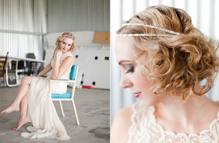 Vintage-bridal-style-wedding-hairstyle-headband-lace-wedding-dress