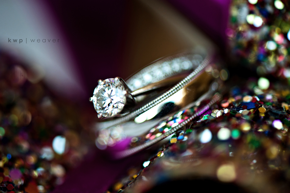 Real wedding photo of bride 39s engagement ring and wedding band