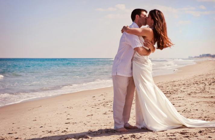 Romantic Beach Wedding Moment