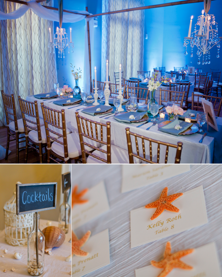 Elegant beach inspired wedding reception decor
