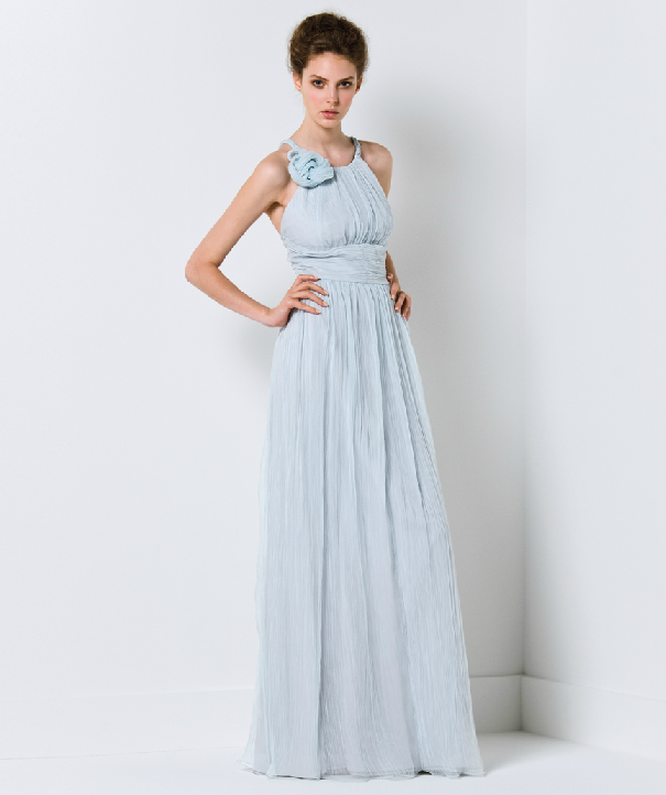 Light blue wedding dress with oneshoudler neckline