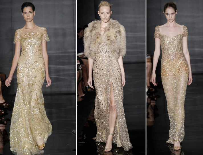 Embroidered gold wedding dresses by Reem Acra