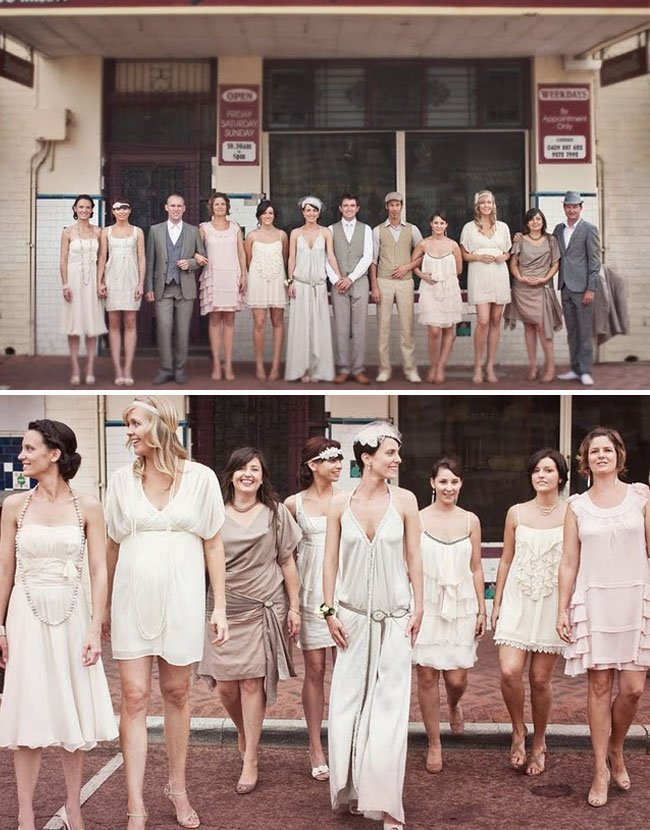 Vintage-inspired real wedding with mix n match bridesmaids dresses