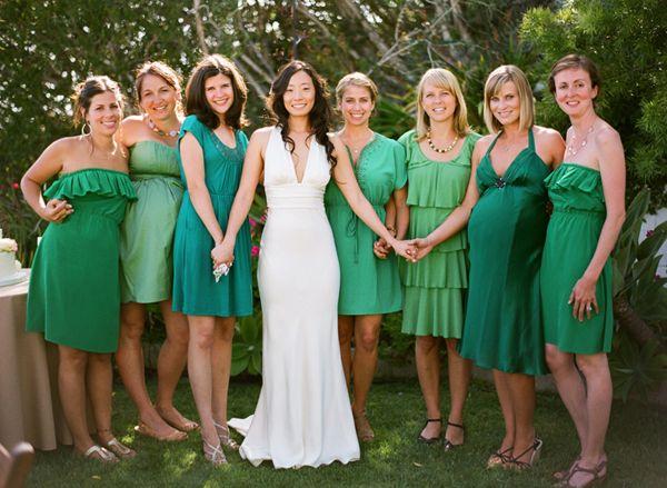 Mix and match green bridesmaids dresses