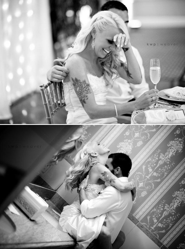 Black and white beach wedding photos