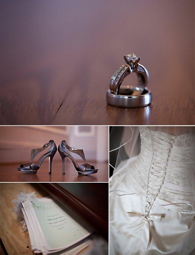 Diamond engagement ring, ivory wedding dress