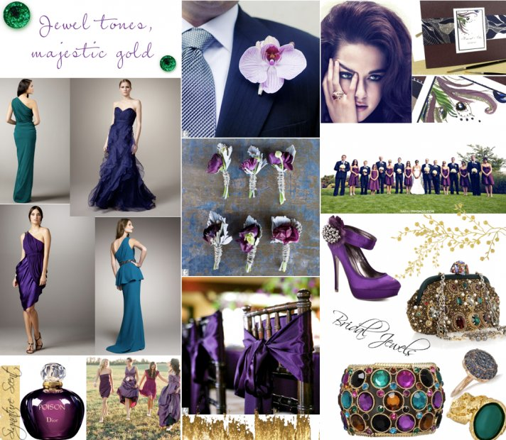 Jewel toned wedding colors, bridal style ideas